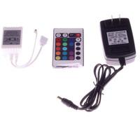 New 12V 24 Keys IR Remote Controller+12V 2a Power Adaptor for SMD 3528 5050 RGB LED SMD Strip Lights Free Shipping