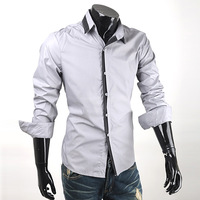Black white shirt 2013 long-sleeve vvron men's clothing slim shirt commercial teenage casual,free shipping