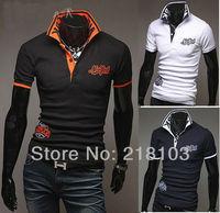 New popular Men's lapel short sleeves T-shirt shirts