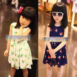 2015 New Summer Children's Elegant O-Neck Dress Girls Sleeveless Pleated Vest Chiffon Dresses, Free Shipping GD073
