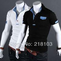 New men's Metrosexual cowboy spell color short-sleeved t-shirt shirt slim 2 color