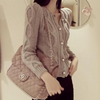 2013South Korean women's shoulder pads twist single-breasted cardigans elegant sweater for women winter coats outerwearHot Sale