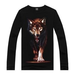 Hot Sale Top Quality Wolf printing Long Sleeve Lycra Cotton Men's T Shirt Tees Tops 3d Creative Hip Hop Rock T Shirts Men