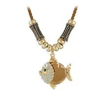 Gorgeous hot   Fashion crystal fish sautoir  free shipping  3pcs lot fashion necklaces 2013 fashion style