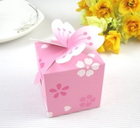 Free shipping 250pcs/lot Creative Personalized Wedding Favor Boxes, pink petals square candy box MHH-10.