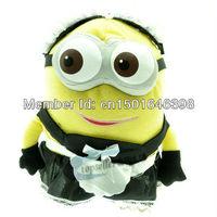 22cm Despicable Me 3D Minion Dressed Maidservant Plush Toy Doll Figure,1pcs