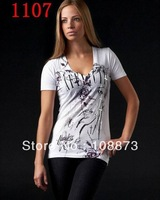 2013 Hot Sale Fashion Design Women   O-neck  Shirt,Novelty  T-Shirt, 100% cotton Free Shipping