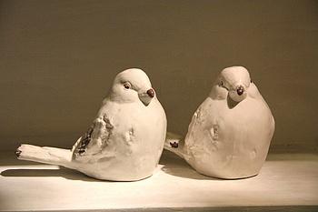 Fashion French vintage retro finishing white ceramic birds decoration coffee table bookcase decoration  Free shipping