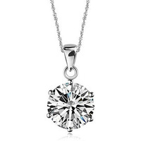 639 2013 women's 925 pure silver necklace cubic zircon necklace 8mm diamond pendant
