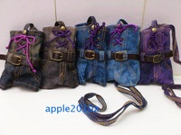 Unique casual denim spaghetti strap slim waist cell phone pocket coin purse