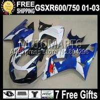 7gifts+Cowl NEW blue For SUZUKI K1 01 02 03 GSXR750 GSXR600  C#2A33 GSXR 600 750 GSX R600 HOT Blue white 2001 2002 2003 Fairing