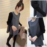 2013 autumn female long-sleeve basic shirt casual loose babydoll women's o-neck t-shirt top