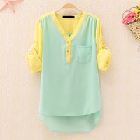 Autumn women's casual candy color patchwork V-neck long-sleeve chiffon shirt top 308c519