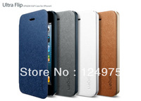 MOQ 1PCS FOR IPHONE 5 5S Spigen SGP Ultra Flip Leather Cover Premium Case With Retail Package Free shipping