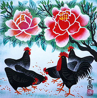 Auspicious wealth. Peony and chicken. The flower and bird painting, Chinese farmer painting beautiful.
