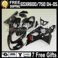 7gifts+Cowl For K4 04 05 SUZUKI GSX-R600 Glossy black GSXR600 GSX-R750 C#107J47 GSXR750  2004 2005 ALL Black Body Fairings