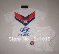 Best Quality Child's Jersey 13-14 Season Lyonnais Home White Kid Kit Soccer Jersey Free Shipping Mix Order