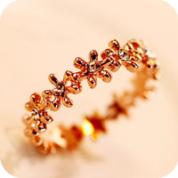 Beautiful cutout austria crystal vintage exquisite surround small flower  tail ring free shipping