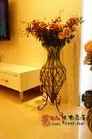Iron glass vase fashion luxury transparent large floor vase hydroponic