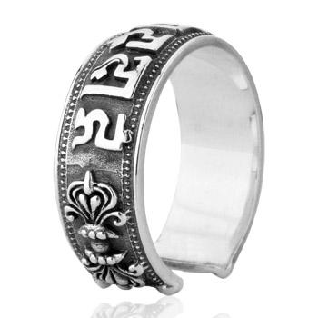 Real stamped 925 sterling silver finger ring men opening adjustable