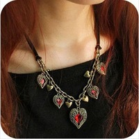 Wholesale New Fashion accessories costume Jewelry Retro Angel Wings Multi Red stone LOVE Hearts Necklace leather strap RJ546