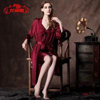 mulberry silk sleepwear women's pajama sexy butterfly strap nightgown twinset guarantee 100% real silk pajama robe gown hot sale