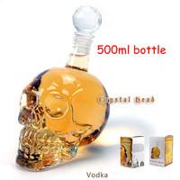 Free shipping 500ml Doomed Crystal Skull head Shot Glass vodka beverage bottle/cups Transparent crystal glasses, creative gift