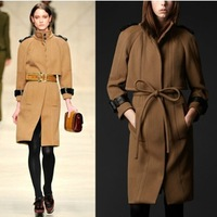 Elegant wool coat   fashion double breasted coat ladies wool  outerwear overcoat plus size trench