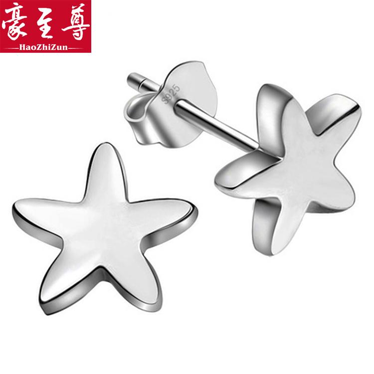 Silver jewelry 925 pure silver stud earring star earring vintage ear hook female marriage