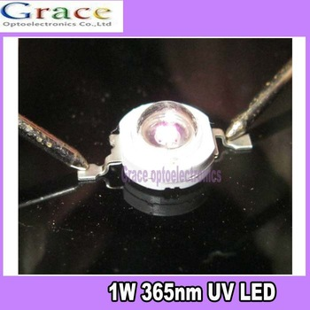 5pcs x1W 365nm UV LED ultraviolet LED lamp light double gold thread High Power