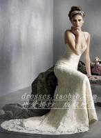 Free Shipping Wedding dress lace wedding dress fish tail shoulder strap wedding dress train wedding dress wedding dress xf-003