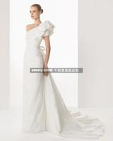 Free Shipping Fashion taffety 2013 senior fashion one shoulder wedding dress train