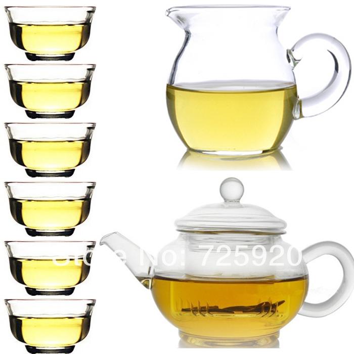 Transparent heat resistant glass teapot set 8pcs set 1pc pot 260ml 1pc fair cup 260ml 6pcs