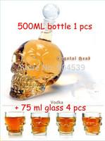 Free shipping Doomed Crystal Skull Shot Glass/Crystal Skull Head Vodka Shot Wine Glass  1 pc 500ml  bottle+ 4 pcs small glass
