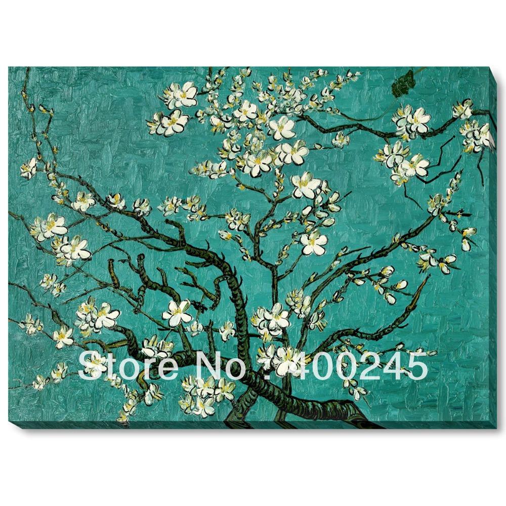 Pinturas a óleo esticado, esticada , pintura de Vincent Van Gogh, Ramos de uma amendoeira em flor , de alta qualidade , pintados à mão(China (Mainland))