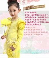 Free Shipping Autumn girls cotton suit children's clothing fashion bud sleeve coat new ladies round neck big boy suit