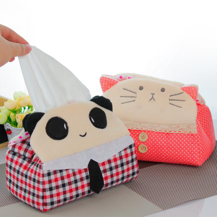 Free shipping 68 cartoon plush tissue fabric home pumping tissue cover pumping tissue box cat tissue box(China (Mainland))