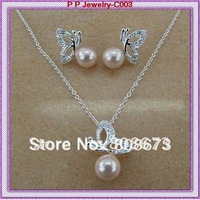 Free Shipping Rhinestone Crystal Cream Pearl Pretty Butterfly Necklace And Earring Jewelry Set