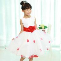 Children's Wear Girl's Summer 2013 New Tank Dress Child Princess Party Dress Print Red Dot Big Tulle Sweet Child Prom Dress