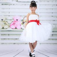 Beauty Pageant Dresses For Little Girls Red Bow Waistband Slik Organza Princess Wedding Dress Beads Suspender Evening Dress