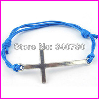 Min. order 10 pcs/lot Free shipping cross bracelet handmade wax cord Bracelet alloy silver cross charm Bracelet multicolored