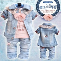 Children's clothing female child autumn quality fashion lace rhinestones denim piece set Jacket + t-shirt + pants