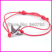 Min. order 10 pcs/lot Free shipping pigeon bracelet bird bracelet wax cord and alloy Bracelet silver animal charm Bracelet