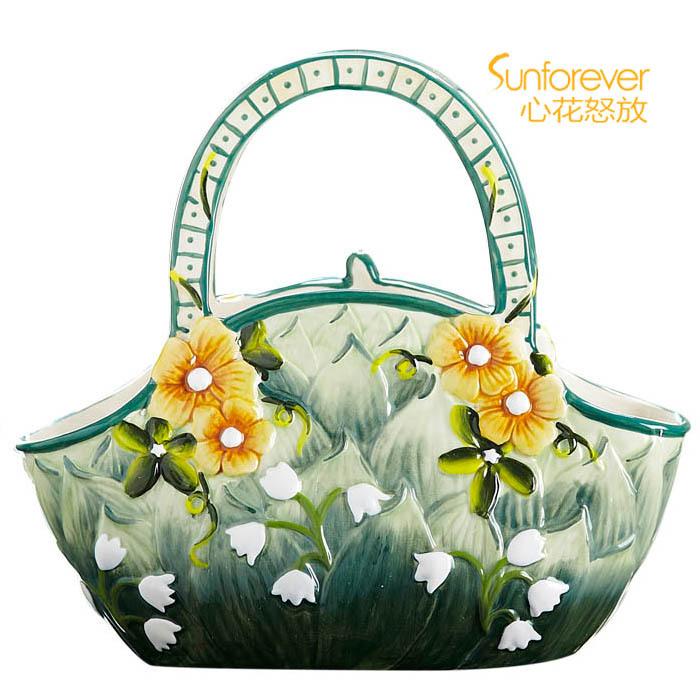 Ceramic flower basket portable basket decoration flower basket small basket decoration flower bag vase green(China (Mainland))