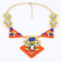 Fashion New Jewelry Gem Crystal Statement Chokers Copper Rhinestone Necklace exaggerate 2013 designer brands bib necklace