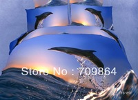 New Beautiful 100% Cotton 4pc Doona Duvet QUILT Cover Sets bedding set Full / Queen / King size 4pcs animal sun blue dolphine