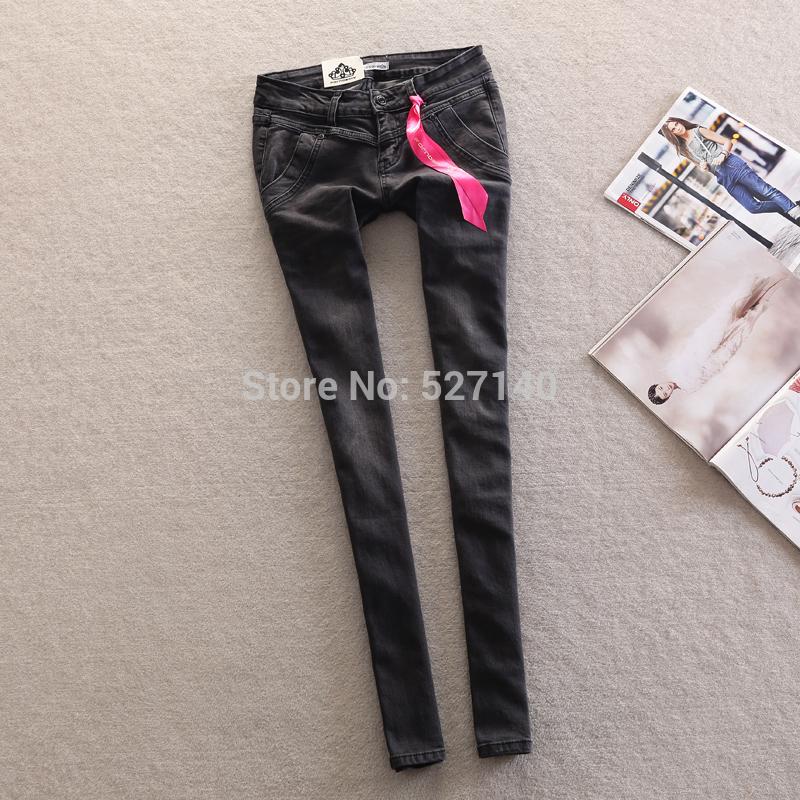 упругих тощий заниженной талией карандаш джинсы