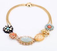 Fashion New Jewelry Alloy Rhinestone Flower Necklace Gold Plated Women's Jewelry designer brands bib statement necklace
