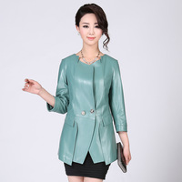 2013 spring and autumn fashion genuine leather clothing female medium-long motorcycle leather clothing