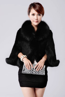 New 2014 winter fox fur collar rabbit fur coat jacket spliced waistcoat cape fur coat women   fake fur  black